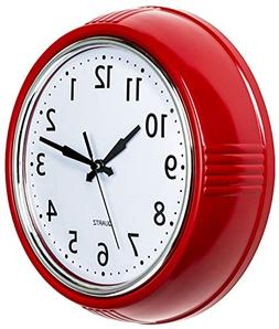 Bernhard Products Retro Wall Clock 9.5 Inch Red Kitchen 50's