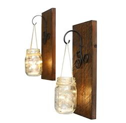 Bleecker Station Rustic Mason Jar Wall Sconce Set with Fairy