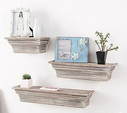 MyGift Rustic Torched Wood Wall Mounted Display Floating She