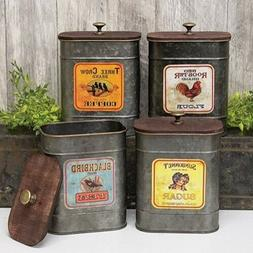 Rustic Vintage Style Metal Kitchen Canisters, Decorative Sto
