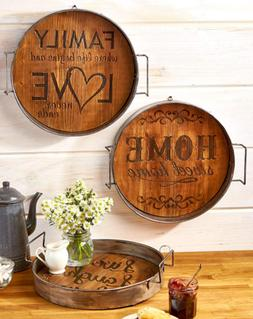 rustic wall decor wood tray country kitchen