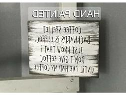 Rustic Wood Sign Funny COFFEE Bar Farmhouse Kitchen Home Dec