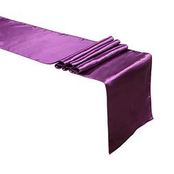 Ling's moment 12 x 108 Inch Satin Eggplant Table Runner, Pac