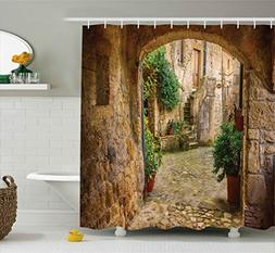 Scenery Decor Shower Curtain by Ambesonne, Landscape from an