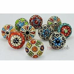 Dorpmarket 10 Pieces Set Dotted Ceramic Cabinet Colorful Kno