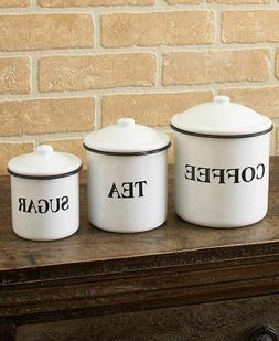 Set Of 3 Canisters Country Enamelware Kitchen Counter Food S