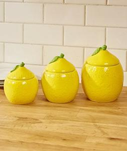 Set Of 3 Canisters Lots O' Lemons Yellow Spring Kitchen Home