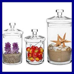 Set Of 3 Clear Glass Kitchen & Bath Storage Canisters/Decora