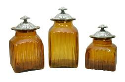 Set of 3, Mexican Amber Decorative Glass Canister Set with M