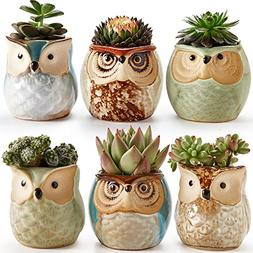 SUN-E 2.5 Inch Owl Pot Ceramic Flowing Glaze Base Serial Set