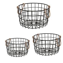 Shabby Chic French Country Round Wire Nesting Baskets Black