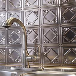 Kitchen Backsplash Silver Decorative Vinyl Panel Wall Tiles