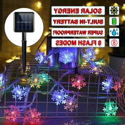 Solar powered led rope patio string fairy lights waterproof