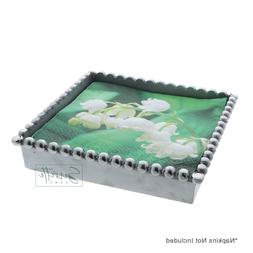 Square Napkin Box Silver Metal Beaded Lunch Napkin Holder Ki