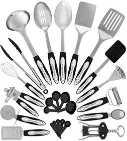 Stainless Steel Kitchen Utensil Set - 25 Cooking Utensils -