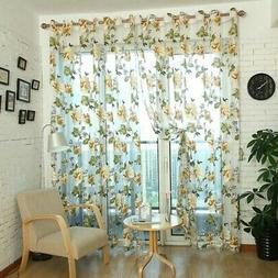 Summer Transparent Butterfly Lace Kitchen Cafe Floral Voile