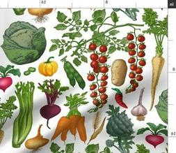 Summer Vegetables Vegetable Kitchen Decor Fabric Printed by