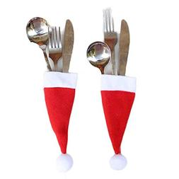 SUNBIBE1/5/10PCs Red Christmas Caps Cutlery Holder | Fork Sp