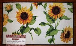 Sunflower Floral Kitchen Area Mat Country Flower Decor Rug Y