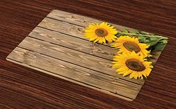 Lunarable Sunflower Place Mats Set of 4, Three Sunflowers on