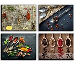 Kitchen Pictures Wall Decor, SZ 4 Piece Set Spice and Spoon