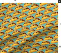 Taco Retro Kitchen Decor Food Funny Cute Fabric Printed by S