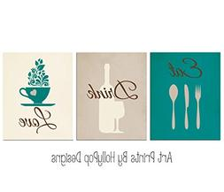 Teal brown kitchen art print set - Eat Drink Love - Dining r