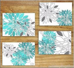 Teal Turquoise Gray Wall Art Prints Decor Floral Flower Dahl