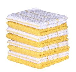 Terry Kitchen Dishcloth Set of 8  , Yellow , 100 % Cotton ,