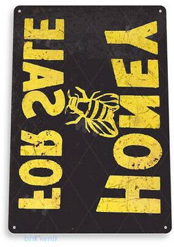 TIN SIGN B157 Honey For Sale Tin Metal Sign Bees Kitchen Far