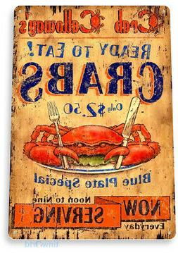 TIN SIGN B200 Serving Crab Seafood Tin Metal Sign Kitchen Co