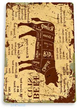 TIN SIGN Beef Cuts Metal Décor Wall Shop Farm Cow Kitchen S