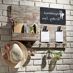 MyGift Torched Wood Wall Mounted Chalkboard Memo Clips, Mail