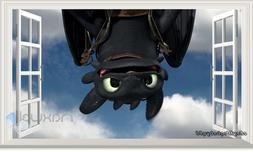 Train Dragon Toothless 3D Window Wall Decals Removable Stick