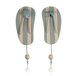 Tumbler Home-Tropical Flip Flop Wall Hooks - Set of 2 - 10 I