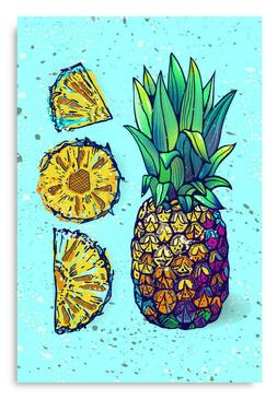 Tropical Fruits Poster Wall Art Pineapple Pieces Kitchen Dec