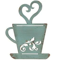 Turquoise Rusty Metal Coffee Cup Wall, Kitchen, Restaurant,