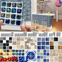 US 18/90PCS Kitchen Bathroom Wall Tile Mosaic Stickers Water