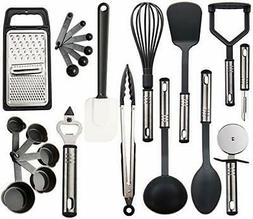 utensils set 23 pieces nylon and stainless