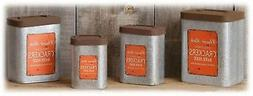 Vintage Inspired Tin Cracker Canister Containers Set/4 Kitch