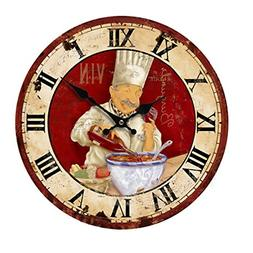 KiaoTime 13.5 inch Vintage Wall Clock Italian Cooking Chef C