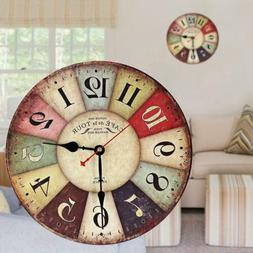 Vintage Wooden Wall Clock Shabby Chic Rustic Retro Kitchen H