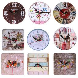 Vintage Wooden Wall Time Clock Shabby Chic Rustic Kitchen Ho
