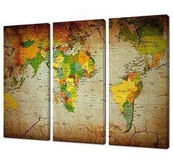 Ardemy Wall Art Canvas Painting Retro Abstract World Maps Pi