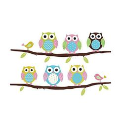 FiveRen Wall Decals Colorful Six Lovely Owls Stickers Paper