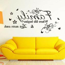 Wall Stickers FAMILY Letter Quote Removable Vinyl Decal Home
