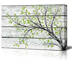 wall26 Canvas Prints Wall Art - Tree Branch with Green Leave
