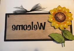 WELCOME Metal SUNFLOWER country kitchen wall home decor flor