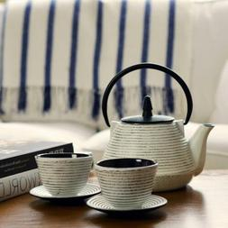 White Cast Iron Teapot And Cups Traditional Japanese Kitchen