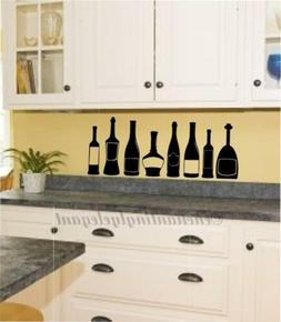Wine Bottles Kitchen Decor Vinyl Decal Wall Sticker